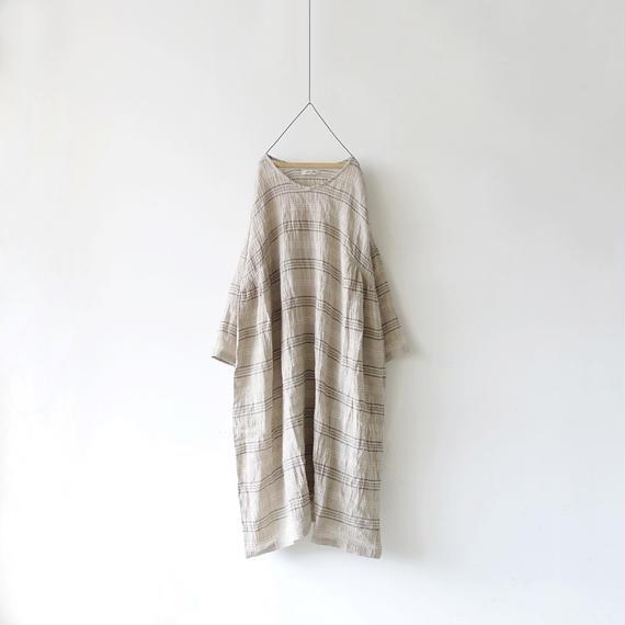 ichiAntiquités 100919 Linen Border Dress / NATURAL