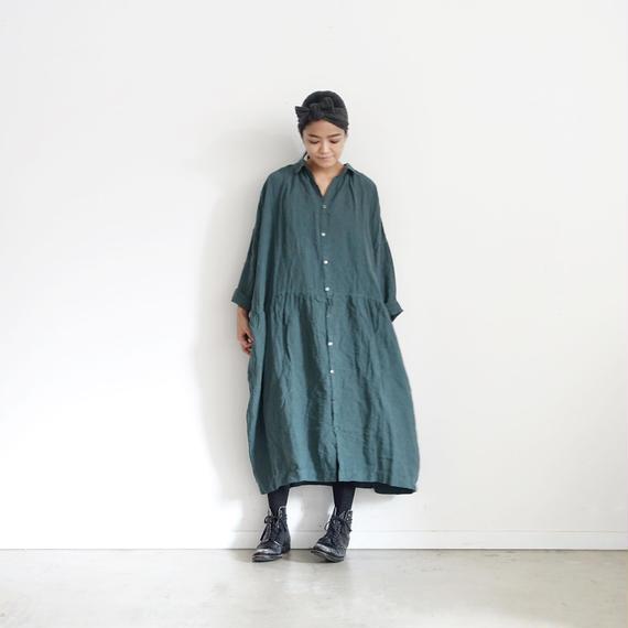 ichiAntiquités 100652 Color Linen Dress / GREEN