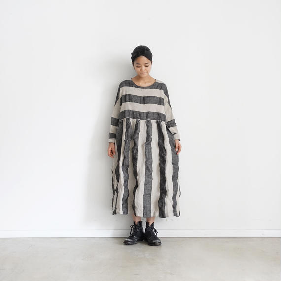 ichiAntiquités 100925 Linen KOTOHIRADAKI Dress / NATURAL×BLACK
