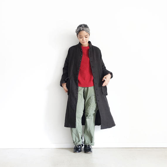 ichiAntiquités 100313 Linen Wool Single Coat / BLACK