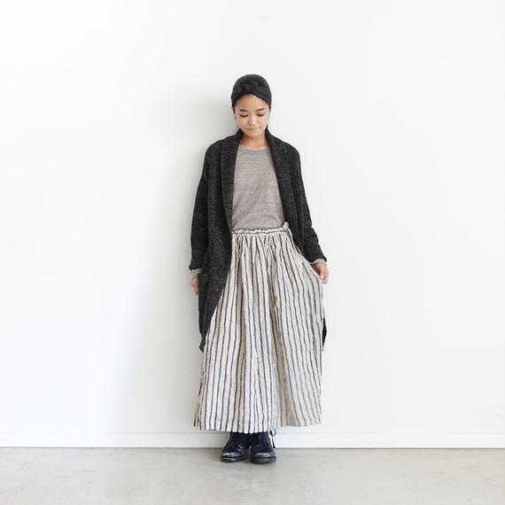 ichiAntiquités 100613 Linen Wool Stripe Skirt / BLACK