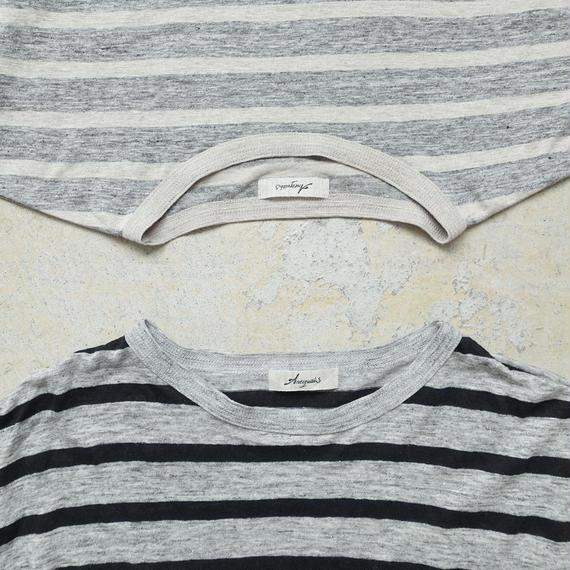 ichiAntiquités 100940  Linen Border Pullover / GRAY × BLACK