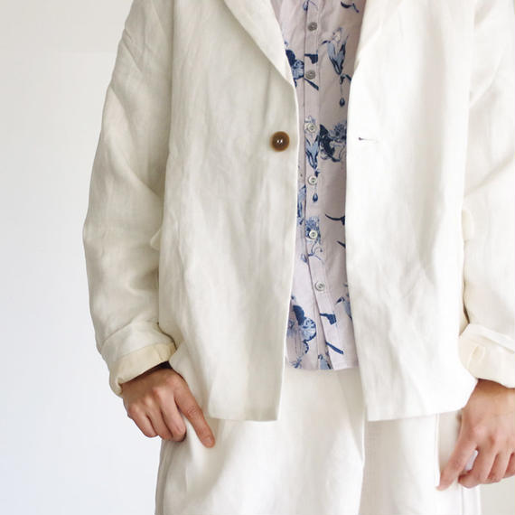 i c h i 181035 Linen Jacket / White