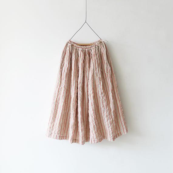 ichiAntiquités 100613 Linen Wool Stripe Skirt / PINK