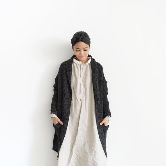 ichiAntiquités 100644 Wool Linen Alpaca Knit Cardigan / CHARCOAL