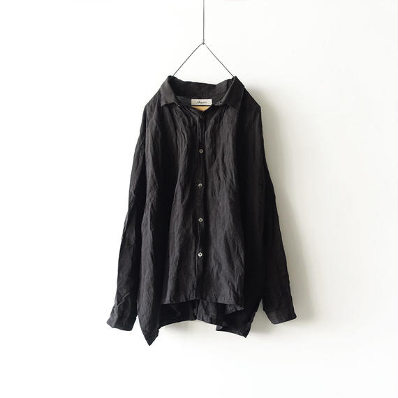 ichiAntiquités 100325 Color Linen Shirt / BLACK
