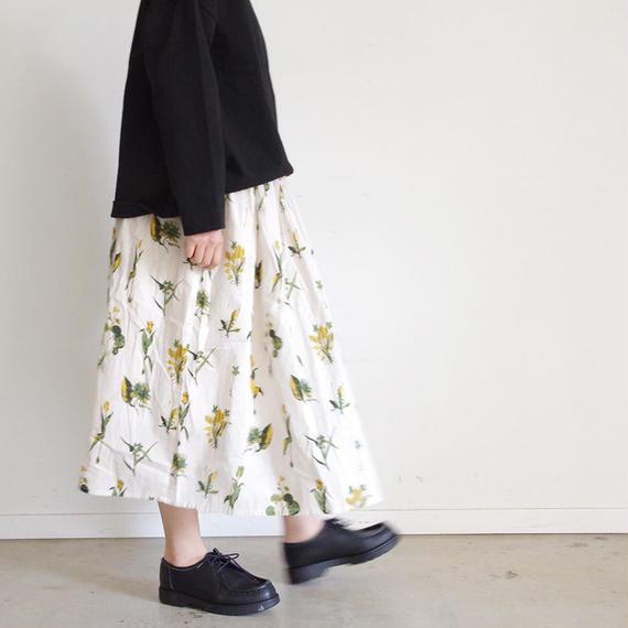 i c h i 181018 Botanical Flower Skirt / Beige