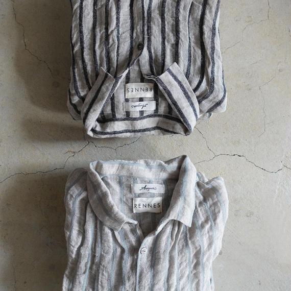 ichiAntiquités × rennes 100651 Linen Wool Stripe Shirt Dress / BLUE