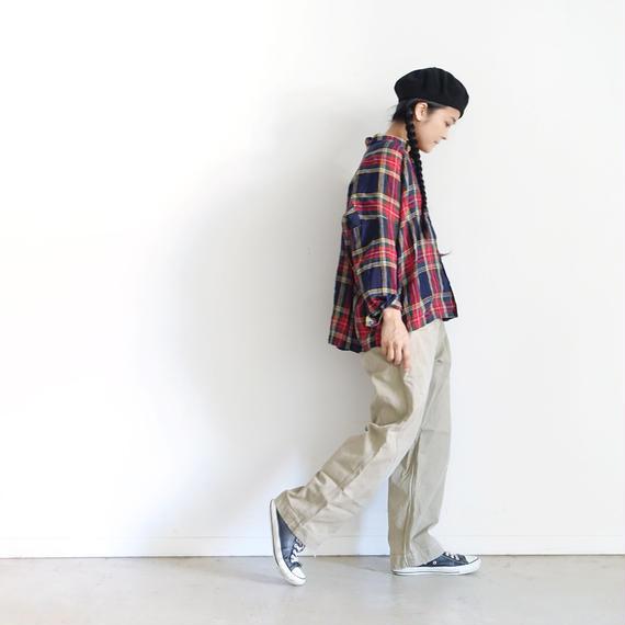 ichiAntiquités 100605 LinenTartan Shirt / NAVY