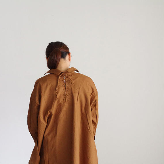 i c h i 180420 Cotton/Linen Lace-up Shirts / Brown