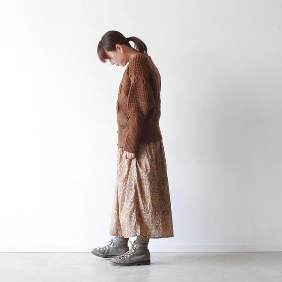 i c h i 180424 Cotton / Silk Paisley Skirt / Beige