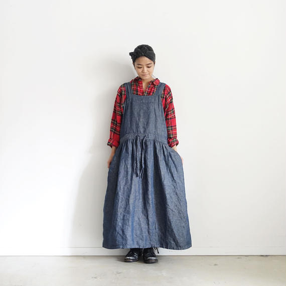 ichiAntiquités 100304 Linen Chino 2way Dress / NAVY