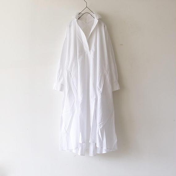 i c h i 180421 Cotton/Linen Lace-up Dress / White