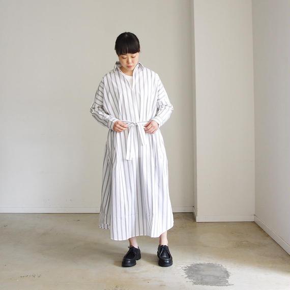 i c h i 181006 Skipper Shirts Dress  / White  Stripe
