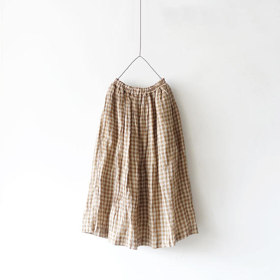 ichiAntiquités 100916  Linen Gingham Skirt / 3 COLORS