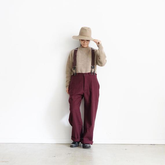 ichiAntiquités 100321 Cotton Wool Pants + Suspenders / BURGUNDY