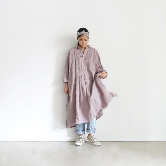 ichiAntiquités 100901  Linen Big Shirt Dress / LAVENDER