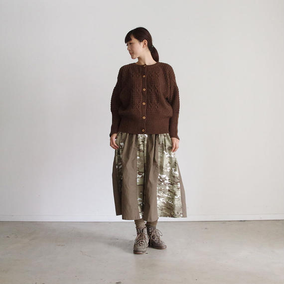 i c h i 180488 Patchwork Knit Cardigan / Brown