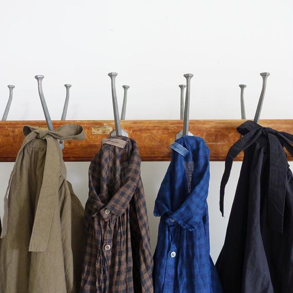 ichiAntiquités 100932 Linen Gingham Handdye Shirt Dress / MUD