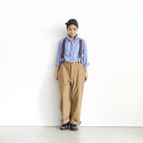 ichiAntiquités 100321 Cotton Wool Pants + Suspenders / BEIGE