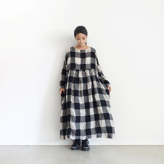 ichiAntiquités 100616 Linen Wool Block Check Dress / BLACK