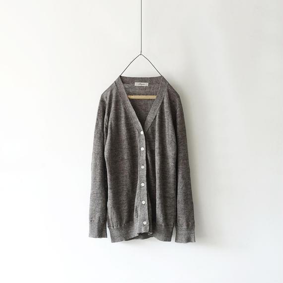 ichiAntiquités 100970  Linen Knit Cardigan / CHARCOAL