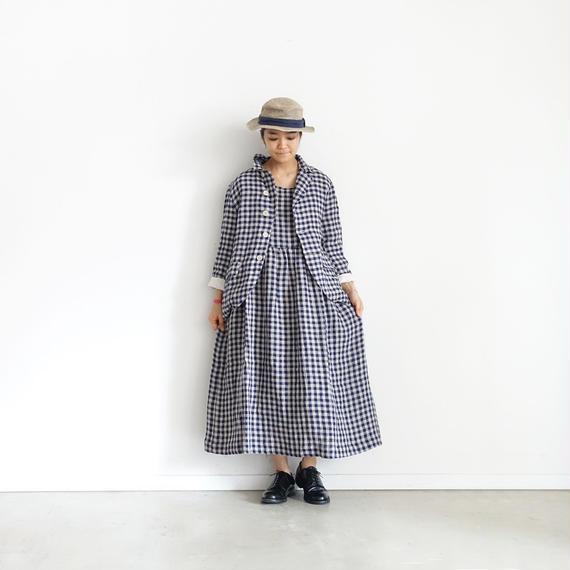 ichiAntiquités 100915  Linen Gingham Dress / 3 COLORS