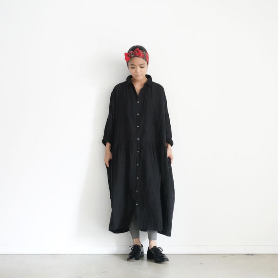 ichiAntiquités 100629 Linen Shirt Dress / BLACK