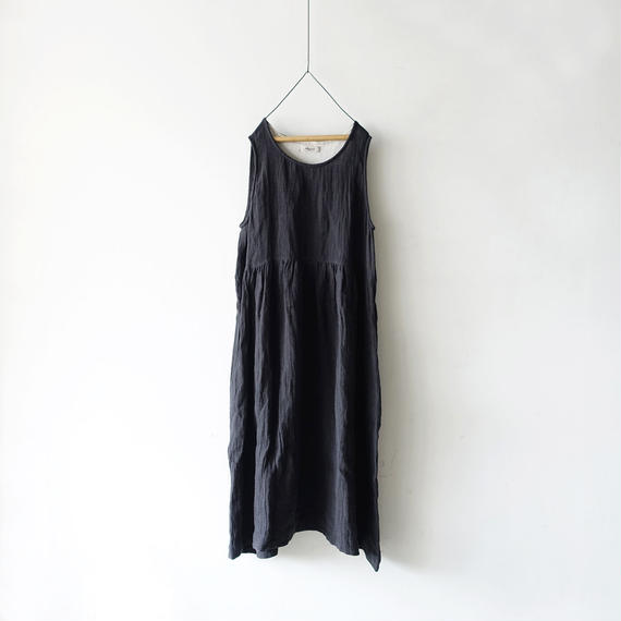 ichiAntiquités 100923  Linen AZUMADAKI Dress / CHARCOAL