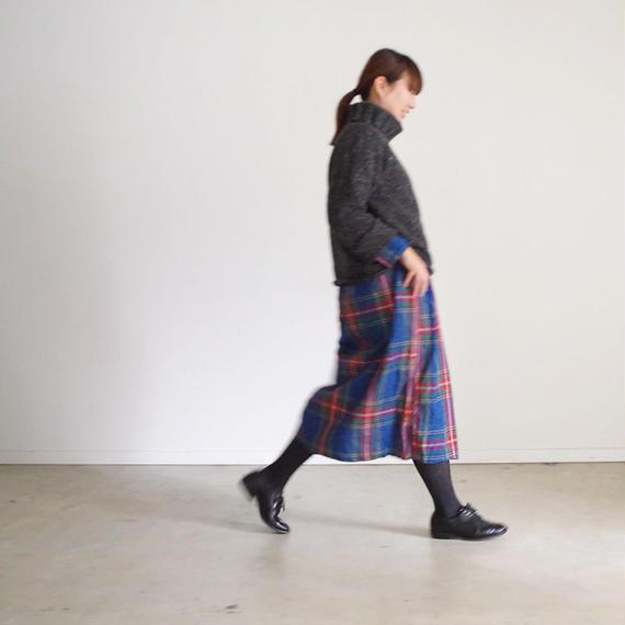 i c h i 180721 Indigo Tartan Cache Coeur Dress / Dark