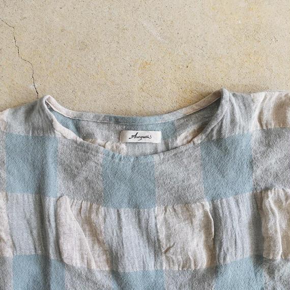 ichiAntiquités 100615 Linen Wool Block Check Pullover / BLUE
