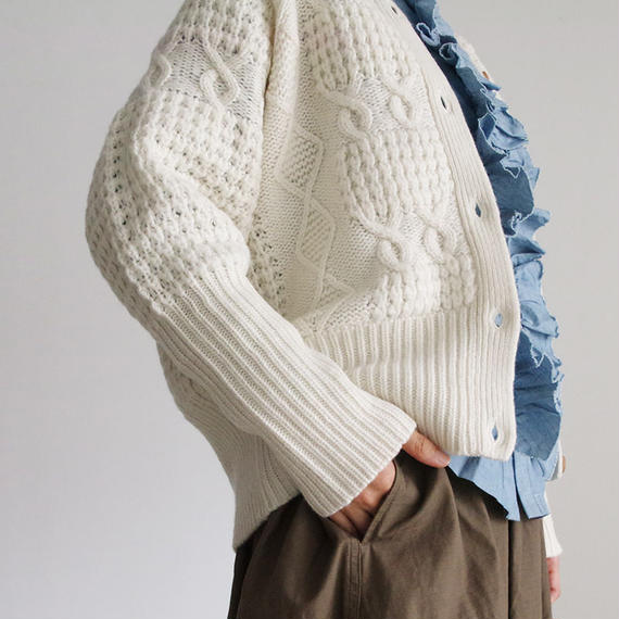 i c h i 180488 Patchwork Knit Cardigan / White