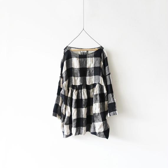 ichiAntiquités 100615 Linen Wool Block Check Pullover / BLACK