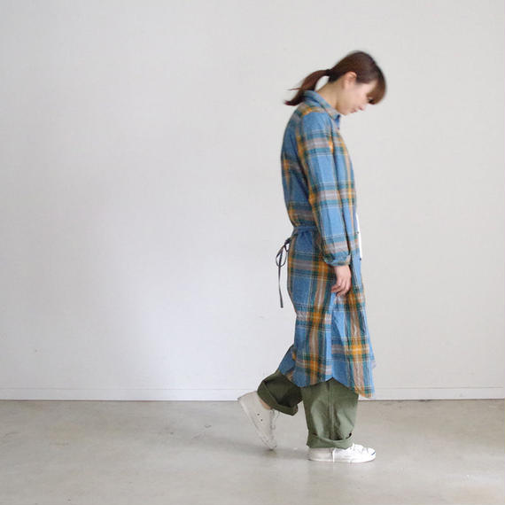 i c h i 180719 Indigo Tartan Check Shirts Dress / Light