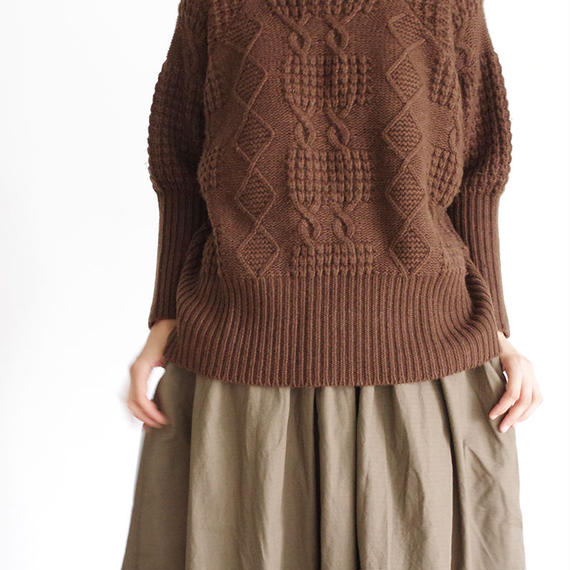 i c h i 180487 Patchwork Knit Crew-neck Pullover / Brown