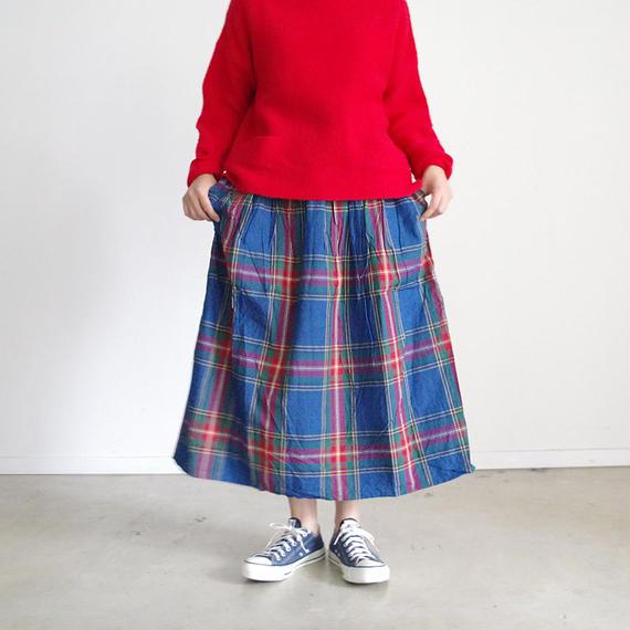 i c h i 180720 Indigo Tartan Skirt / Dark