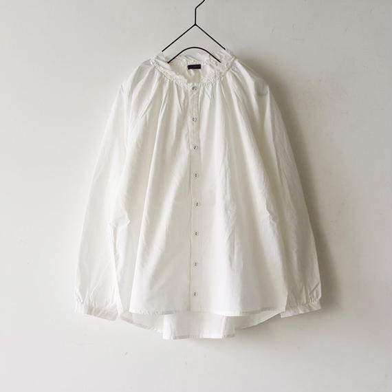 i c h i 180602 Cotton Typewriter Gather Shirts / White
