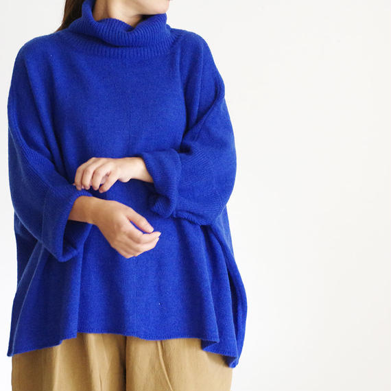 i c h i 180483 Mohair Knit Turtle Neck Pullover / Blue