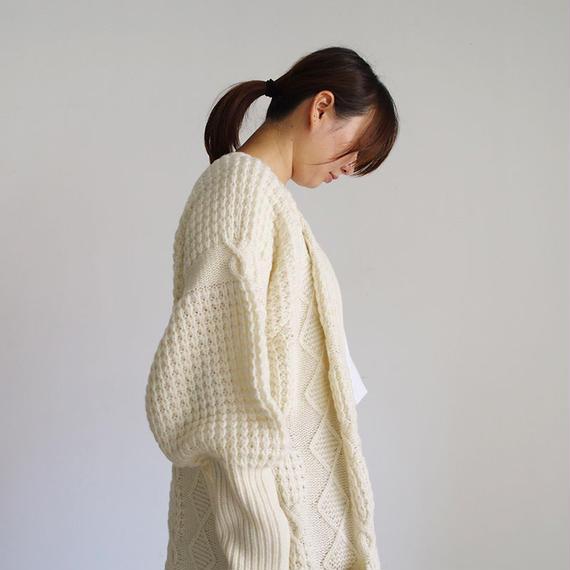 i c h i 180489 Patchwork Knit Long Cardigan / White