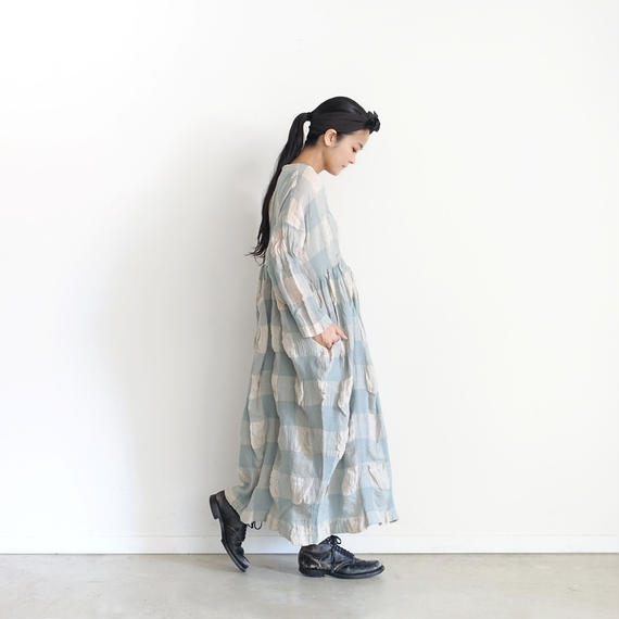 ichiAntiquités 100616 Linen Wool Block Check Dress / BLUE