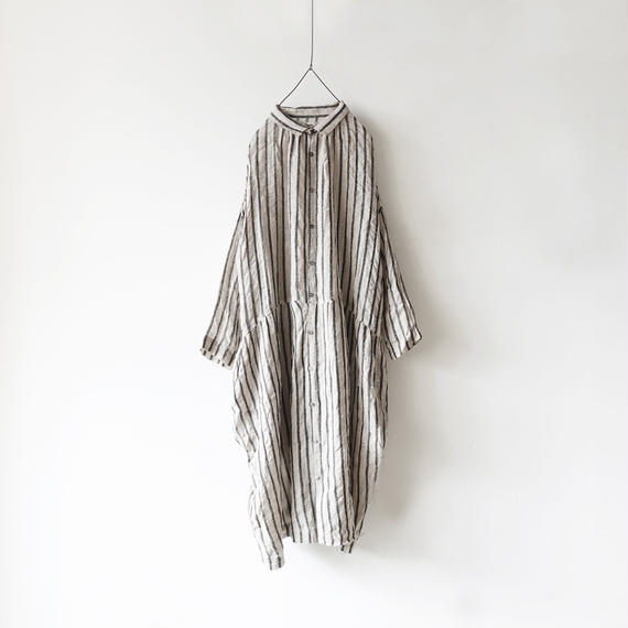 ichiAntiquités × rennes 100651 Linen Wool Stripe Shirt Dress / BLACK