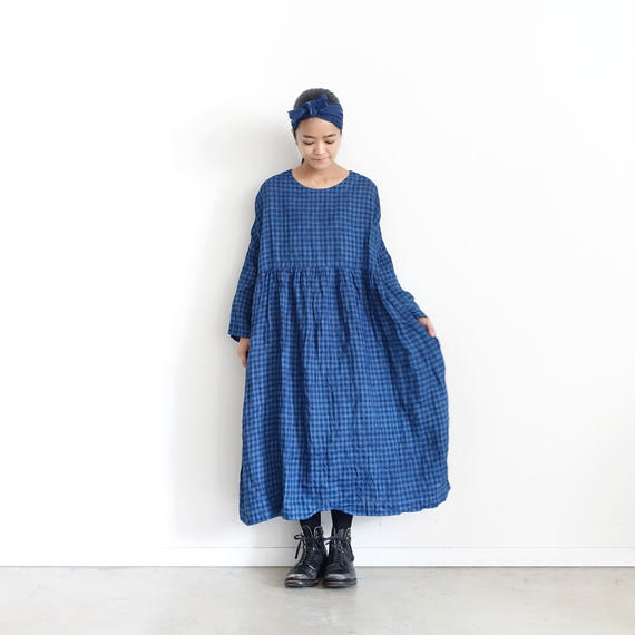 ichiAntiquités 100365 Natural Handdye Gingham Linen Dress / INDIGO