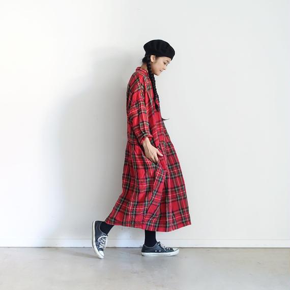 ichiAntiquités 100606 LinenTartan Shirt Dress / RED