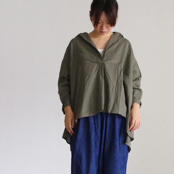 i c h i 180420 Cotton/Linen Lace-up Shirts / Khaki
