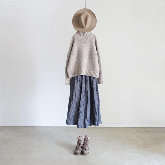ichiAntiquités 100308 Linen Dungaree Skirt / PLANE