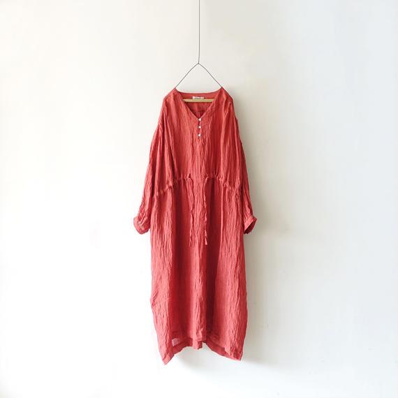 ichiAntiquités 500119  Linen Voile Dress / RED