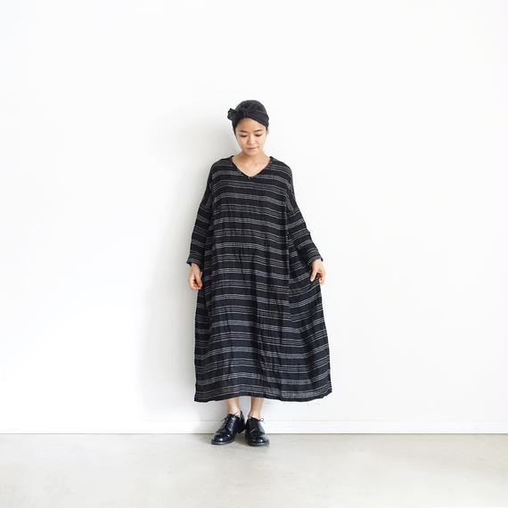 ichiAntiquités 100919 Linen Border Dress / BLACK