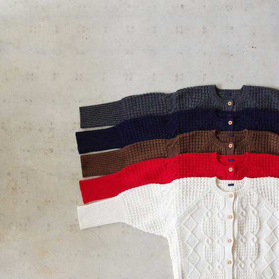i c h i 180488 Patchwork Knit Cardigan / Red