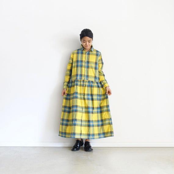 ichi 181138  Cotton INDIGO  Tartan Shirt Dress / YELLOW