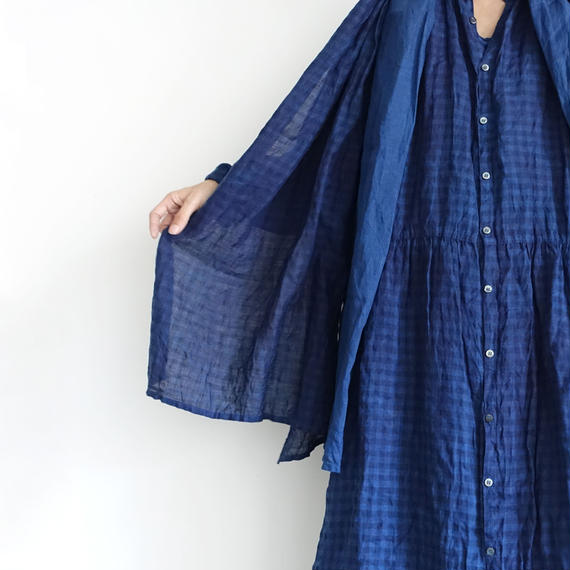 ichiAntiquités 100932 Linen Gingham Handdye Shirt Dress / INDIGO